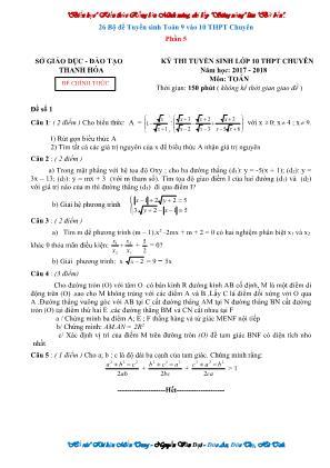 26 Bộ đề tuyển sinh Toán 9 vào 10 THPT chuyên - Phần 5