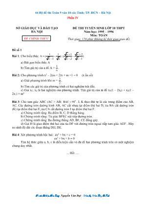 44 Bộ đề Toán 9 thi vào Lớp 10 các tỉnh, thành phố Hồ Chí Minh – Hà Nội - Phần IV