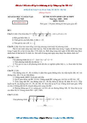 68 Bộ đề Toán 9 thi vào Lớp 10 các tỉnh, thành phố Hồ Chí Minh – Hà Nội (Không chuyên)