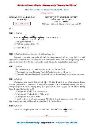 82 Bộ đề Toán 9 thi vào Lớp 10 các tỉnh, thành phố Hồ Chí Minh – Hà Nội (Không chuyên)