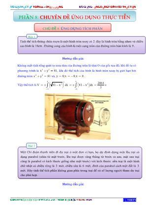 Bài giảng Ứng dụng toán vào thực tiễn - Phần 8: Chuyên đề ứng dụng thực tiễn