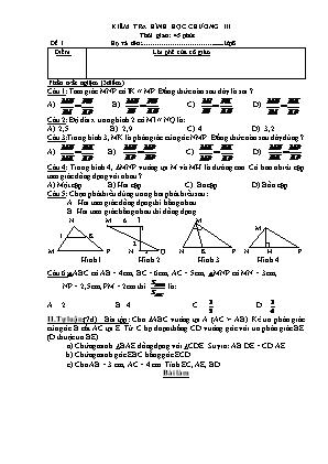 Bài kiểm tra 45 phút Chương III môn Hình học Lớp 8
