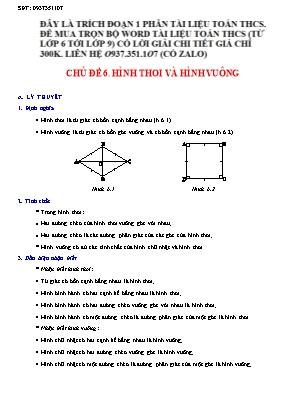 Bài tập Hình học Lớp 6 - Chủ đề 6: Hình thoi và hình vuông