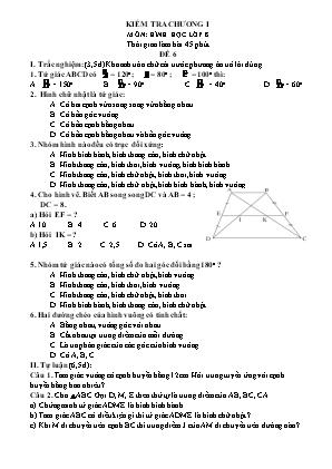 Bộ đề kiểm tra 1 tiết Chương 1 môn Hình học Lớp 8