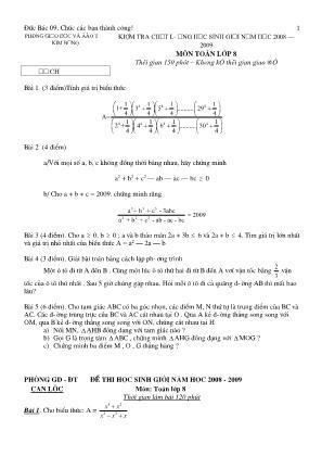 Bộ đề thi học sinh giỏi môn Toán Lớp 8 (Có đáp án)