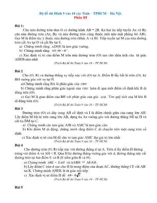 Bộ đề Toán 9 thi vào Lớp 10 các tỉnh, thành phố Hồ Chí Minh – Hà Nội - Phần III