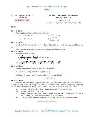 Bộ đề Toán Lớp 9 thi vào Lớp 10 các tỉnh, thành phố Hồ Chí Minh – Hà Nội - Phần II