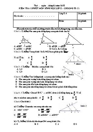 Đề kiểm tra 15 phút Chương 3 môn Hình học Lớp 8 - Năm học 2017-2018