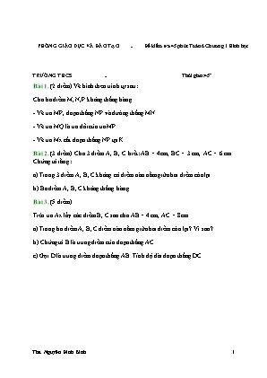 Đề kiểm tra 45 phút Chương 1 môn Hình học Lớp 6 (Có đáp án)