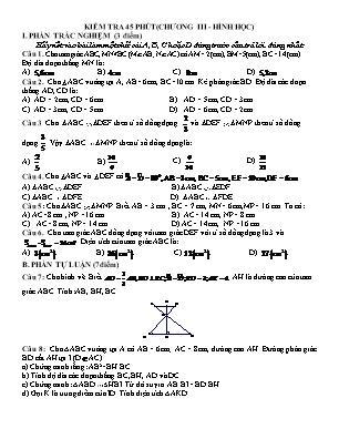 Đề kiểm tra 45 phút Chương 3 môn Hình học Lớp 8