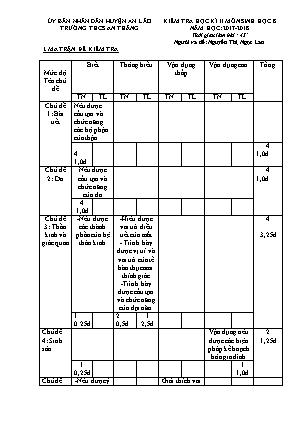 Đề kiểm tra học kỳ II môn Sinh học Lớp 8 - Năm học 2017-2018 - Trường THCS An Thắng (Có đáp án)