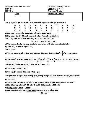 Đề kiểm tra học kỳ II môn Toán Lớp 7 - Trường THCS Hương Nha