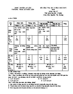 Đề kiểm tra học kỳ II môn Vật lý Lớp 7 - Năm học 2017-2018 - Trường THCS Lê Khắc Cẩn (Có đáp án)