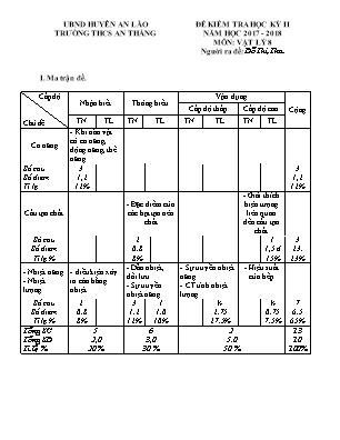 Đề kiểm tra học kỳ II môn Vật lý Lớp 8 - Năm học 2017-2018 - Trường THCS An Thắng (Có đáp án)