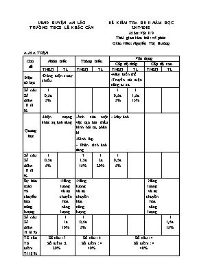 Đề kiểm tra học kỳ II môn Vật lý Lớp 9 - Năm học 2017-2018 - Trường THCS Lê Khắc Cẩn (Có đáp án)