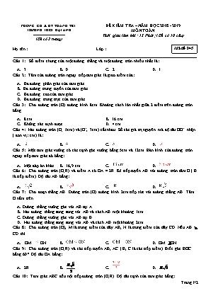 Đề kiểm tra môn Toán Lớp 9 - Mã đề 045 - Năm học 2018-2019 - Trường THCS Đại Áng