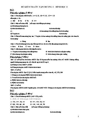 Đề kiểm tra ôn tập Chương I môn Hình học 8