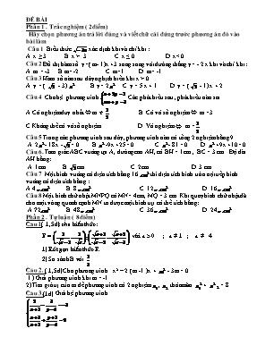 Đề thi thử tuyển sinh vào Lớp 10 THPT môn Toán - Trường THCS Yên Xá (Có đáp án)