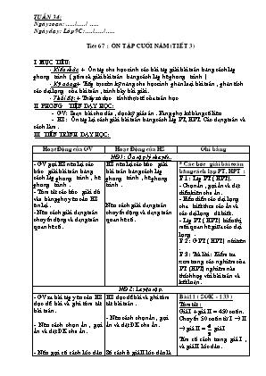 Giáo án Đại số Lớp 9 - Tuần 34