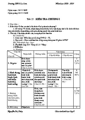 Giáo án Hình học Lớp 8 - Tiết 25: Kiểm tra Chương I - Năm học 2018-2019 - Trường THCS La Sơn
