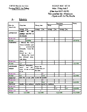 Ma trận và đề kiểm tra học kỳ II môn Tiếng Anh Lớp 7 - Năm học 2017-2018 - Trường THCS An Thắng (Có đáp án)