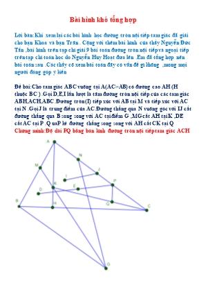 Một số bài Hình học Lớp 9 hay và khó