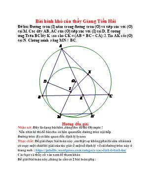 Một số bài Hình học Lớp 9 nâng cao - Giang Tiền Hải