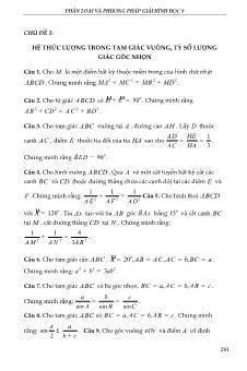 Phân loại và phương pháp giải Hình học 9