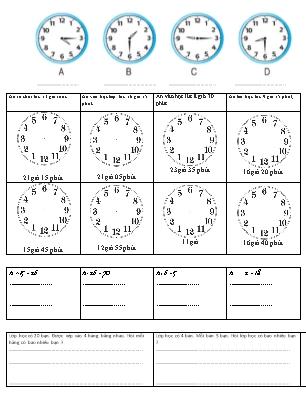 Bài tập xem đồng hồ Lớp 2