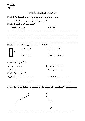 Phiếu bài tập tuần 27 môn Toán Lớp 2